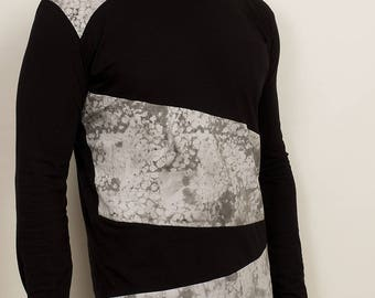 Mens dark futuristic WhatIsIt shirt with asymmetrical patches from organic cotton
