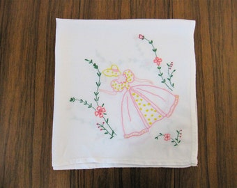 Vintage 1970s Hand Embroidered Tablecloth, needlework, embroidery, linens, floral