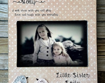 Big Sis, Litlle Sis,Sisters Picture Birds, Little Sister, Kid Baby Frame, Personalized Sisters Gift Children 4x6 5x7 Art