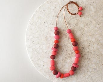 Beaded Necklace in Shades of Red - Handmade Polymer Clay Beads - Limited Edition - Adjustable