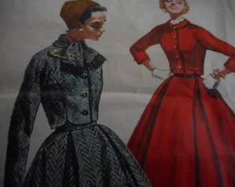 Vintage 1950's Simplicity 1762 Jacket, Scarf and Skirt Sewing Pattern, Size 14 Bust 34