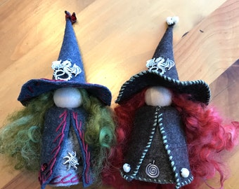 Large Dragon Witch Peg Doll, Waldorf Wooden Peg Doll, Handmade Miniature