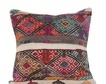 "22"" x 22"" Pillow Cover Kilim Pillow Vintage Kilim Pillow Hand Embroidered Pillow FAST SHIPMENT with ups or fedex - 10862"