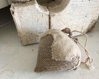 Antique Grain Sack pincushion strawberry pincushion