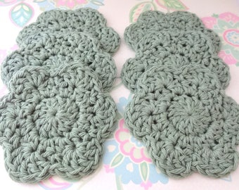 A Set of 6 Green Crochet Flower Face Scrubbies/Facial Scrubbies/Cotton Pads/Cleansing Pads - 100% Cotton - Ready to Ship