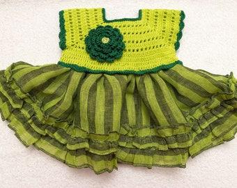 Linen  crochet spring / summer dress for the baby girl