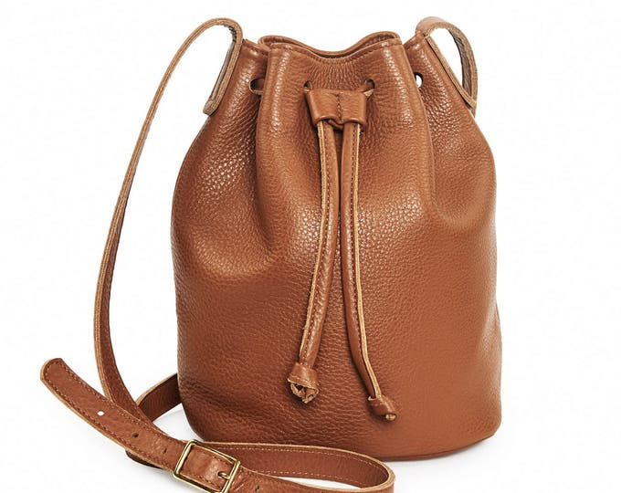 Brown leather bucket bag, leather handbag, brown crossbody bucket bag