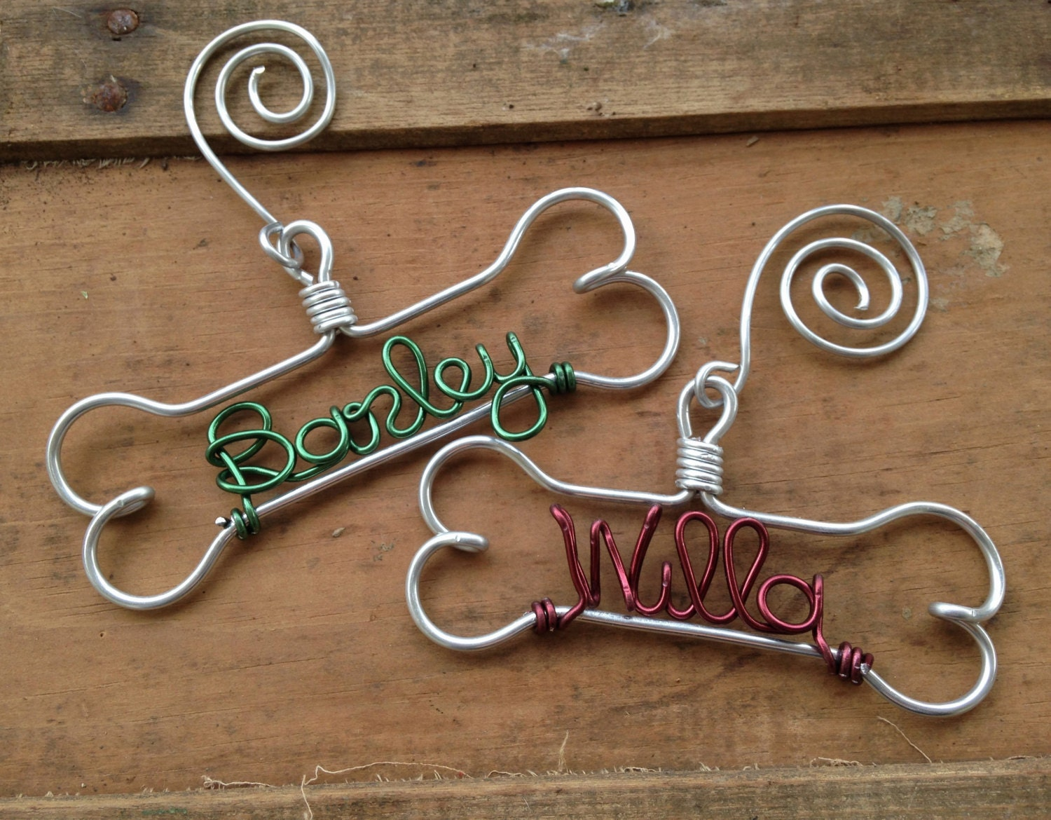 Personalized Pet Ornament Handcrafted Wire Dog Bone with