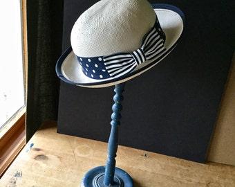 Ladies Straw Hat, Vintage White Straw Hat, Saks Fifth Avenue, Boater Hat, Polka Dot Ribbon, Summer Hat, Spring Hat, Easter Hat, Regatta Hat
