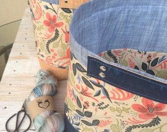 Jumbo Knitting Bin with CORK bottom and accents, Knitting Bin, Rifle Paper Company Fabric Bin,Fabric Bin PRE-ORDER