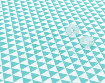 Waterproof Fabric, Mint Triangles, Geometric - 59 Inches Wide - By the Yard 73535 GJ