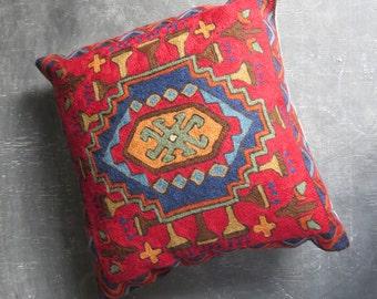 Vintage Indian Crewel Pillow. Kashmir Red and Blue Crewel Pillow. 16 x 16 . | The Curious Moose