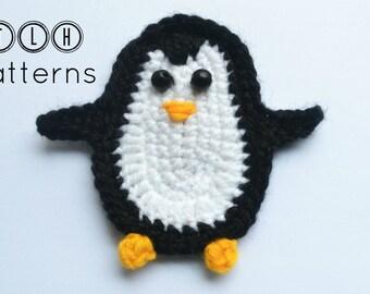 Crochet pattern, penguin applique pattern, crochet applique pattern, crochet penguin, pattern no. 65