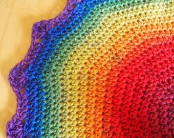 Rainbow doily, colorful centerpiece, pride