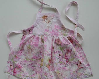 Toddler/girl apron, fairies and flowers apron, pink apron, birthday gift, fairy apron, apron with pockets, adjustable apron, sizes 1 to 6.