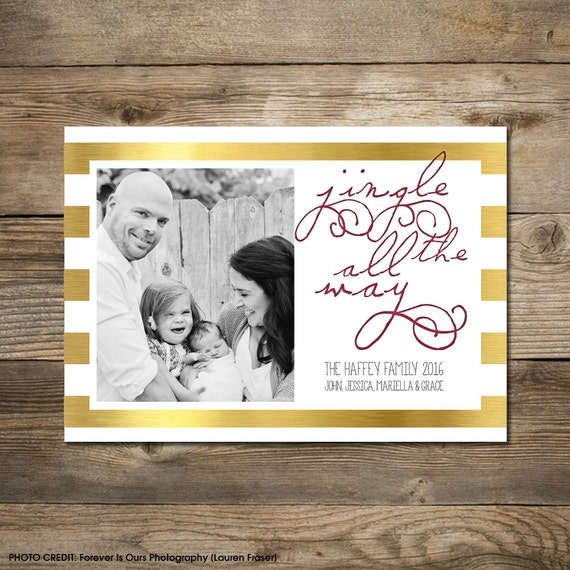 Photo Christmas Card : Faux Gold/Silver Foil Jingle All The Way Photo Holiday Card Printable