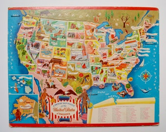 United States USA picture map puzzle, 1950s Whitman