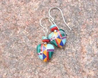 Southwest Heart Inlay Earrings, Heart Earrings, Southwest Style Earrings, Multicolor Inlay Earrings