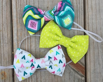 Three Amigos - turquoise, pink and lime coordinating bow ties