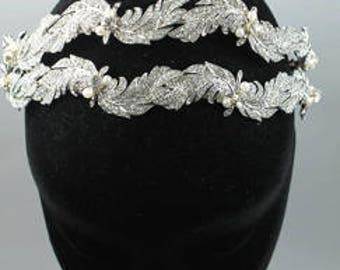 Bridal Tiara - leaves bridal headpiece  - Wedding headpiece - Art Deco headpiece - bridal accessory , bridal headband