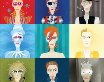 9 portraits of David Bowie, giclee print