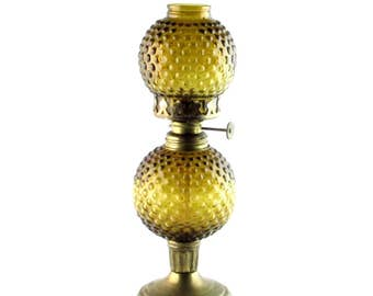 Amber Hobnail Glass and Brass Oil Lamp - Mid Century Vintage Home Decor
