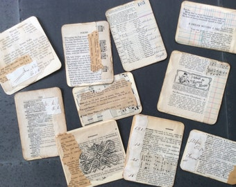 10 Handmade Vintage Paper tags-cards-journal spots - assorted sizes, for gifts, Art Journals, Junk Journals, Smash Books, scrapbooks