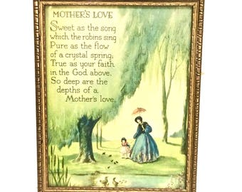 Mother's Love Poem 1930s Framed Print in Original Wood Frame, Gift for Mom's and Mothers-to-Be