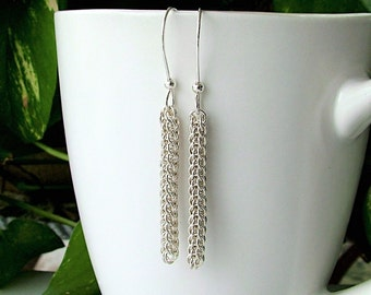 Full Persian Weave Chainmaille Earrings, Silver Chainmaille Earrings, Sterling Earrings