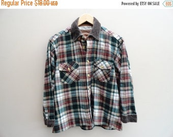 SALE Plaid Flannel Shirt North Country Vintage Eaton Large