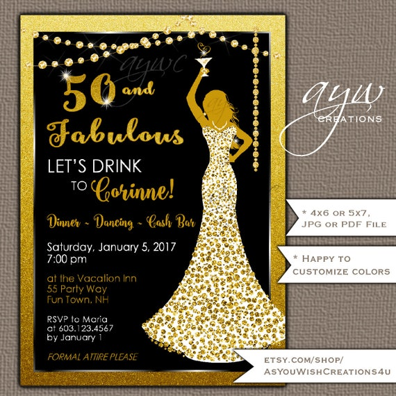 50th Birthday Party Invitations Woman Bling Dress 40th Womans – Invitations for a 50th Birthday Party
