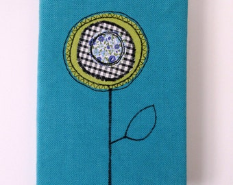 Turquoise  Fabric Covered Notebook -RIB001