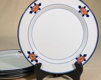4 pc. Dansk Floral Plates | Porcelain Dinnerware  | Red Flowers on Rim