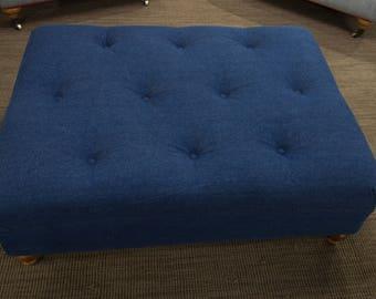Denim Blue Tufted Ottoman