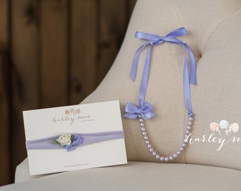 Periwinkle Rose Bud Sitter Set: Headband & Pearl Necklace - lavender, lilac, purple and white