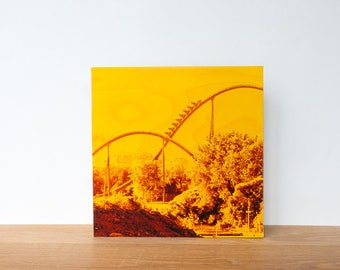 "Roller Coaster, Photo Art Block, 'Joy Ride #2' Limited Edition Image Transfer on 12""x12"" Wood Panel by Patrick Lajoie, amusement park"