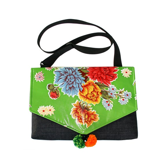 SALE! Lime green oil cloth, floral, laptop bag, Messenger bag, cross body bag