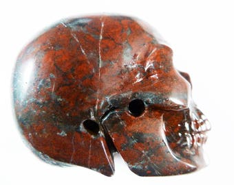 Brecciated Jasper Skull 2 Inch 105g Carved Red Realistic Natural Stone Meditation Intuition Scrying Gemstone