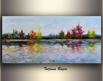 Landscape Oil Painting by Tatjana, Landscape Art Painting, ORIGINAL Art, Canvas Art, Palette Knife, Textured Painting, Colorful Modern Art