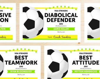 Editable Soccer Award Certificates - INSTANT DOWNLOAD PRINTABLE - Neon Green and Yellow