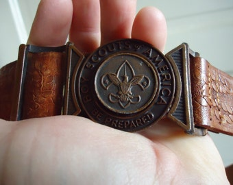 Vintage 70s BOY SCOUT Leather Belt sz S
