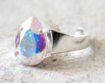 Aurora Borealis | Swarovski Crystal | Pear Ring | Teardrop | Silver Ring | Aurora Borealis Jewlery | Gift For Her | Aurora Borealis Wedding
