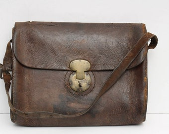 Antique Leather Bag, Civil War Document Folio, Messenger Pouch with Original Key, used by Soldier in Bull Run