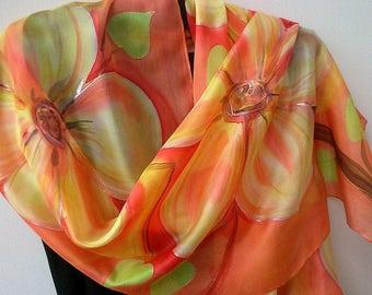 Coral Silk Scarf Hand Painted Blossom Ornament. Coral, Orange, Yellow. 18x 71 in Scarf. Elegant Feminine Floral Silk Scarf. ETSY, Foulard.