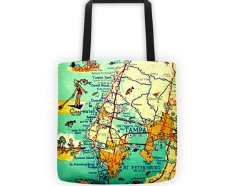 Tampa Florida map tote bag, Clearwater St Petersburg Beach Bag, retro Florida Gifts, 15x15 aqua beach tote