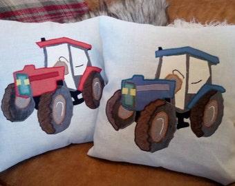 """Vintage Tractor Cushion Pillow Vehicle Farm Yard 18""""x18"""" 45x45cm Bye Brytshi"""