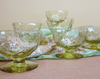 Morgantown Seneca Driftwood Light Green Yellow Crinkle Glass Footed Dessert Cups Sherbets Ice Cream Goblets Coupes set of 6 Trending Vintage