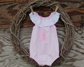 Baby Romper,  Pink Romper, Monogrammed baby Romper, Birthday Outfit, Smash Cake Outfit