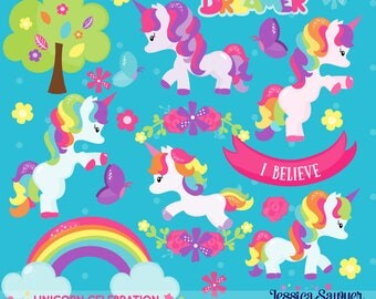 INSTANT DOWNLOAD, rainbow unicorn clipart and vectors for personal and commercial use