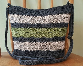 Crochet Crossbody Bag Slate Gray Kiwi Green Lined Pockets Zipper Top Crochet Purse